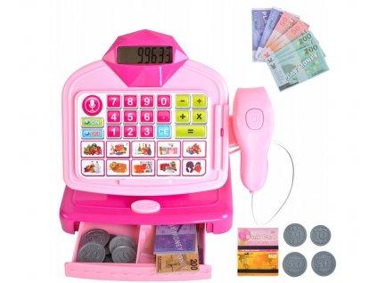 Dětská pokladna se skenerem, růžová, 9537