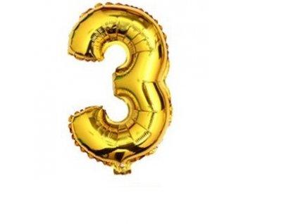 Nafukovací balónek Číslice 3 - 76cm, zlatá, KX6814_32