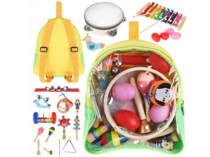 Sada dřevěných hudebních nástrojů pro děti 24 ks, 9419