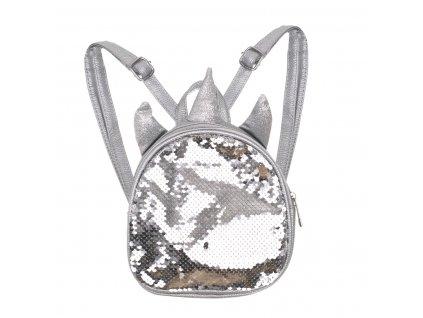 KIK KX7279 Dětský batůžek se stříbrnými flitry Jednorožec