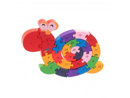 Dřevěné puzzle Šnek s abecedou, KX7458