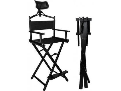 Hliníková skládací kosmetická židle, černá, 9957