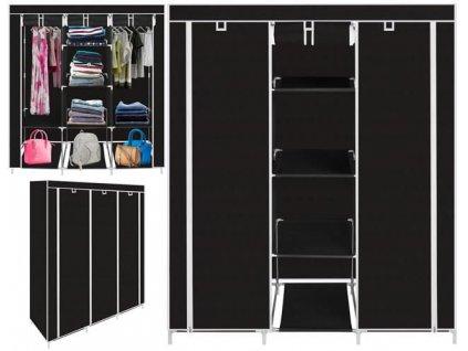 Dvojitá skříň s šedými policemi, černá, 9978