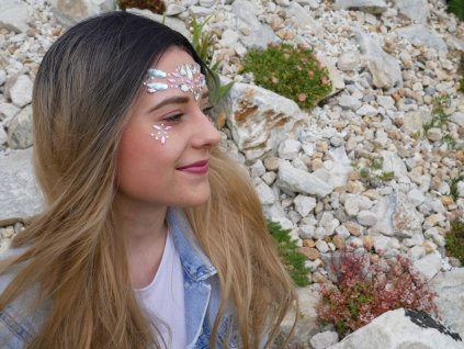 Nalepovací kamínky na obličej - růžové