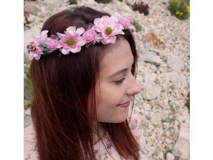 Květinová čelenka - růžová