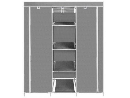 Dvojitá skříň na oblečení 175 x 130 x 45 cm, šedá, 9983