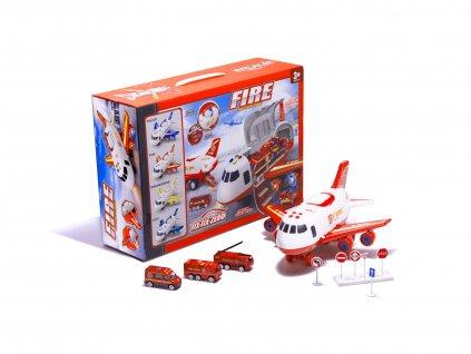 Elektronické nákladní Letadlo s autíčky a příslušenstvím hasiči, KX6684_2