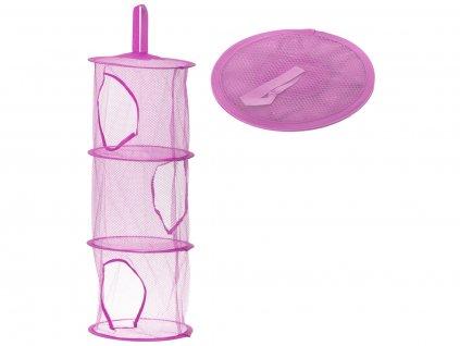 Závěsný organizér na hračky se třemi policemi, fialový, KX9715_4