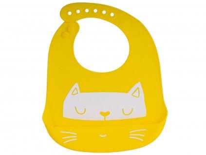 Silikonový bryndák s kapsou - žlutý, KX6308_3