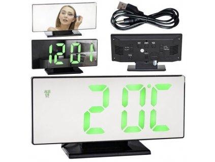 Multifunkční zrcadlové hodiny s budíkem a teploměrem černé, 10721