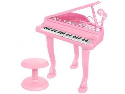 Elektronické piáno s mikrofonem a stoličkou, růžová 11405