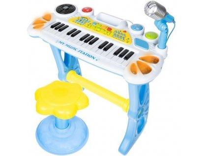 Elektronické klávesy s mikrofonem a stoličkou, modrá, 11548