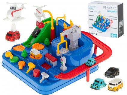 Dětská mechanická autodráha + 4 autíčka, KX6012