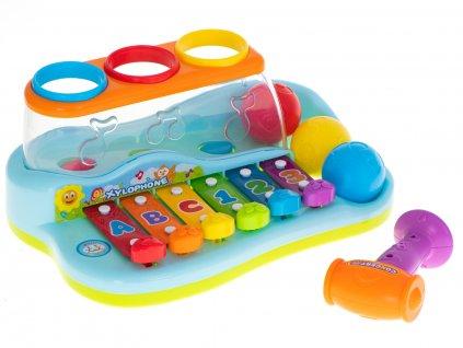 Dětský xylofon s kladívkem a míčky, KX6003
