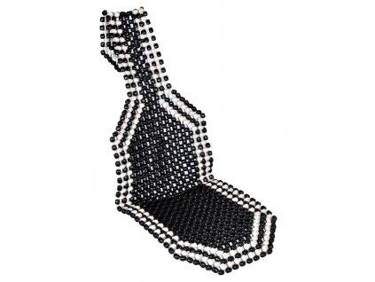 Mata na siedzenie z drewnianych koralikow czarna