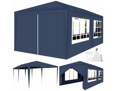 Malatec Zahradní párty stan 3x6m + 6 stěn - modrý, 12869