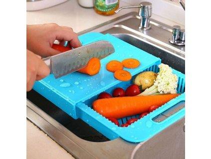 Kuchyňské prkénko s odkapávačem i boxem