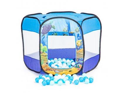 IPLAY Dětský hrací stan s míčky 100 ks - modrý, 8186B100