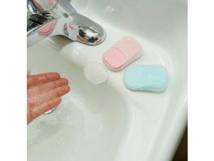 Cestovní papírové mýdlo, modrá