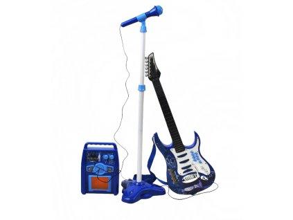 Dětská rocková elektrická kytara na baterie + zesilovač a mikrofon - modrá, 1554