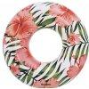 BESTWAY 36237 Nafukovací kruh Tropical Palms 119cm - bílo-růžový, KX6099_1