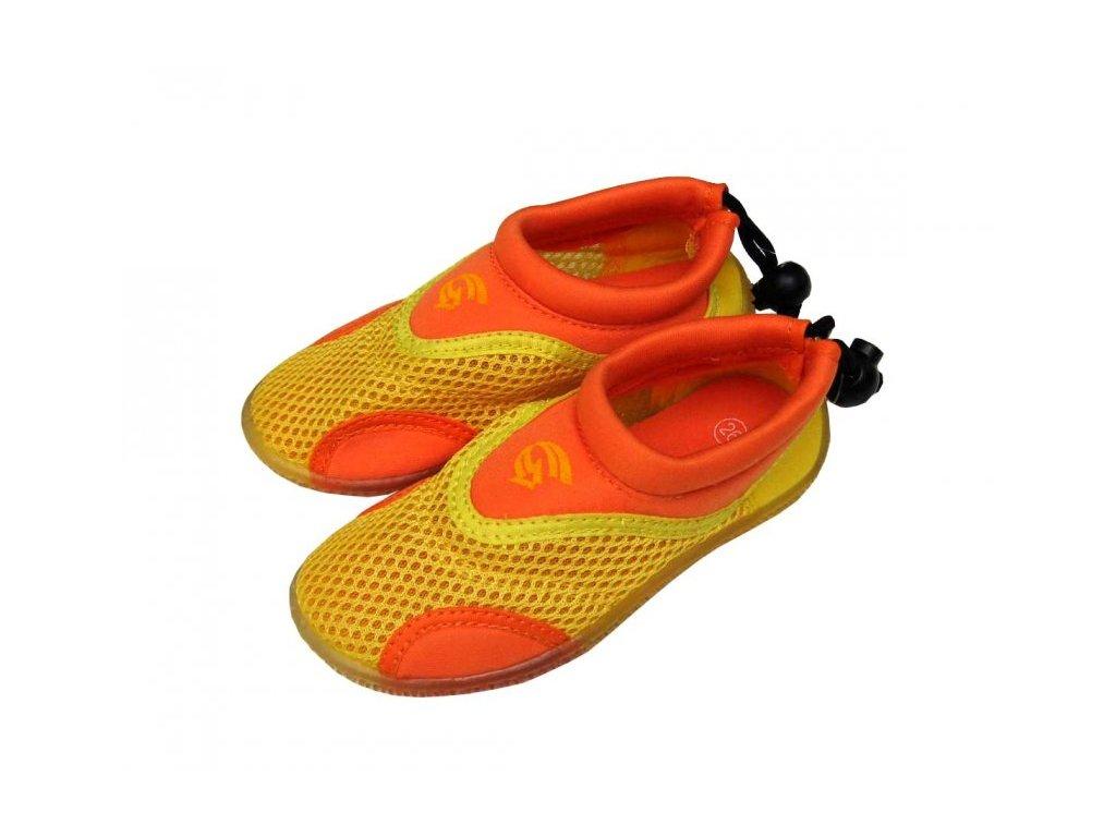 Dětské neoprenové boty do vody Alba žlutooranžové