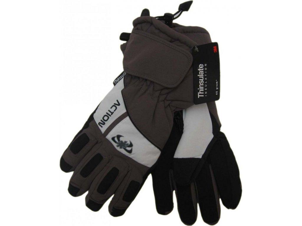 Pánské lyžařské rukavice Action, šedé