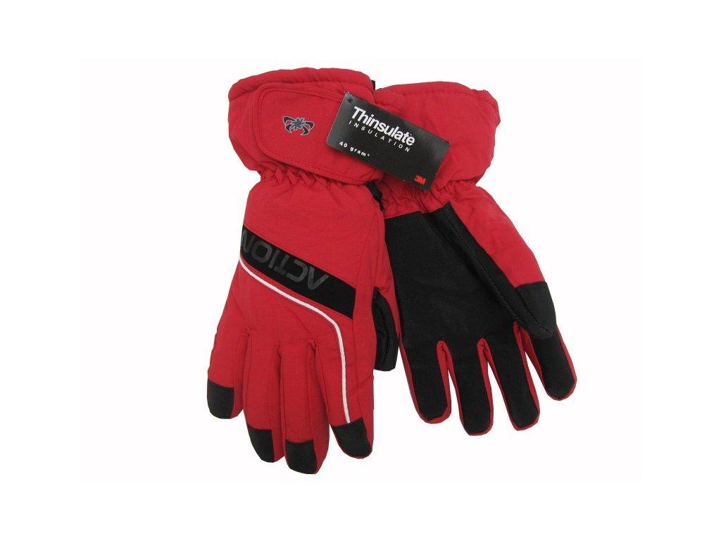 Pánské lyžařské rukavice Action, červené