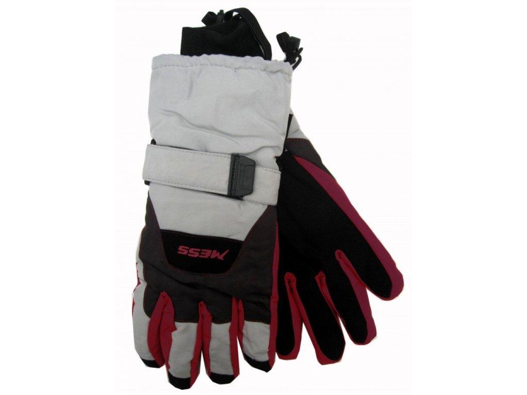 Pánské lyžařské rukavice Mess, šedo-červené