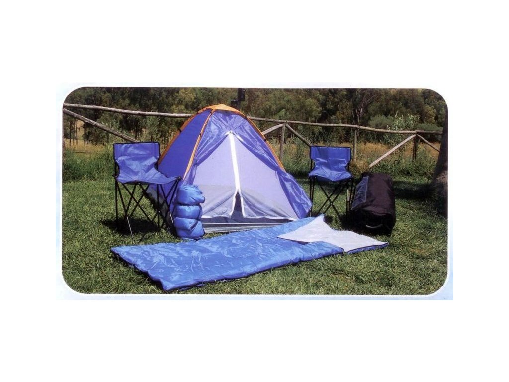 Kempingový set Monodome 6v1 - stan pro 2 osoby, 2 spacáky, 2 židličky a batoh