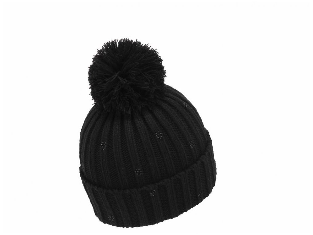 Dámská zimní čepice s bambulí Mess CP0662 černá