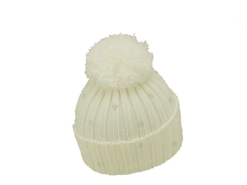 Dámská zimní čepice s bambulí Mess CP0662 slonová kost