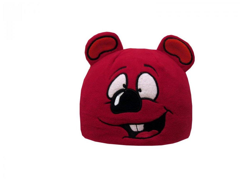 Dětská zimní čepice Mess myška červená