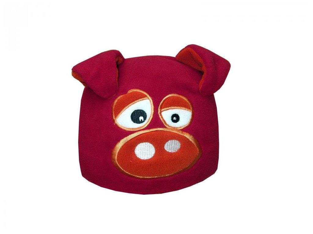 Dětská zimní čepice Mess prasátko červené