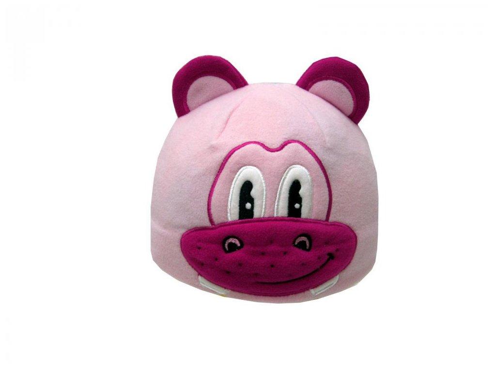 Dětská zimní čepice hrošík růžový