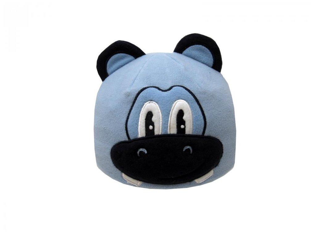 Dětská zimní čepice hrošík modrý