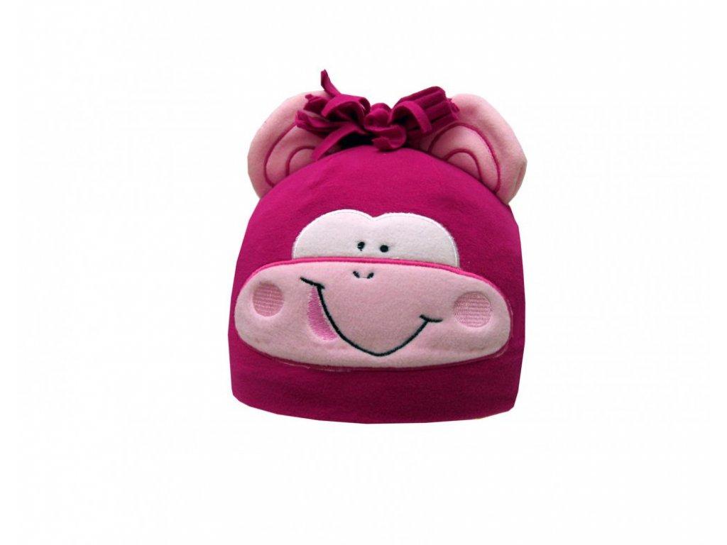 Dětská zimní čepice opička růžová