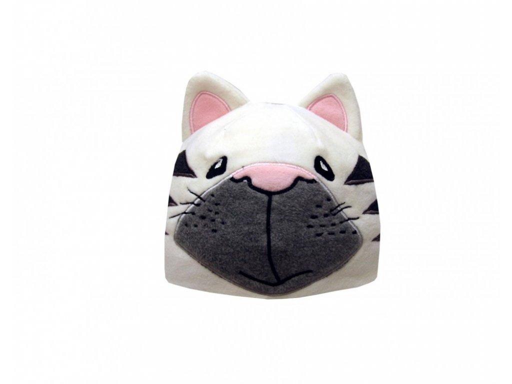 Dětská zimní čepice kočička bílá