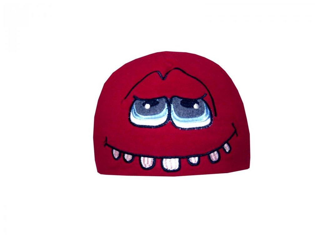 Zimní čepice Mess CP838 Toothy červená