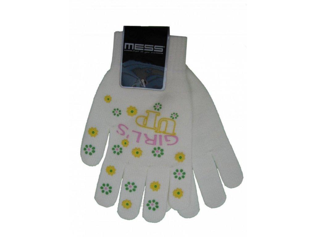 Dětské pletené rukavice Mess GL354 bílé