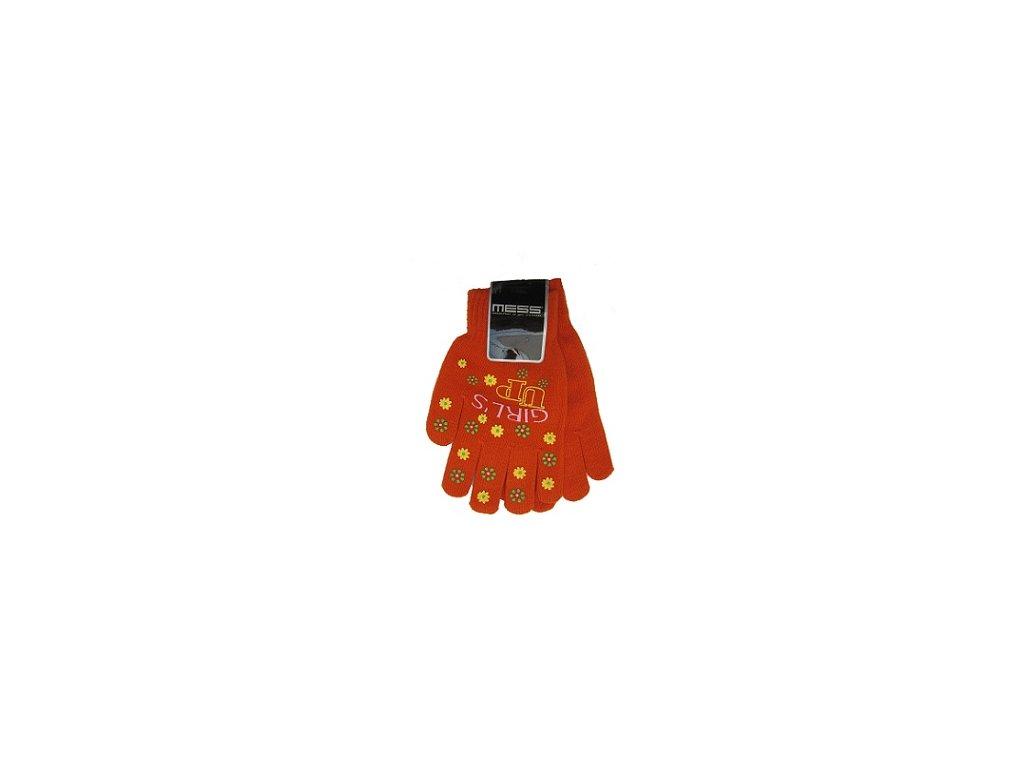 Dětské pletené rukavice Mess GL354 oranžové