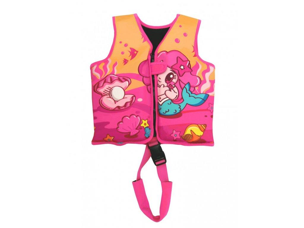 Dětská neoprenová plavecká vesta Princess růžová 18-30 kg