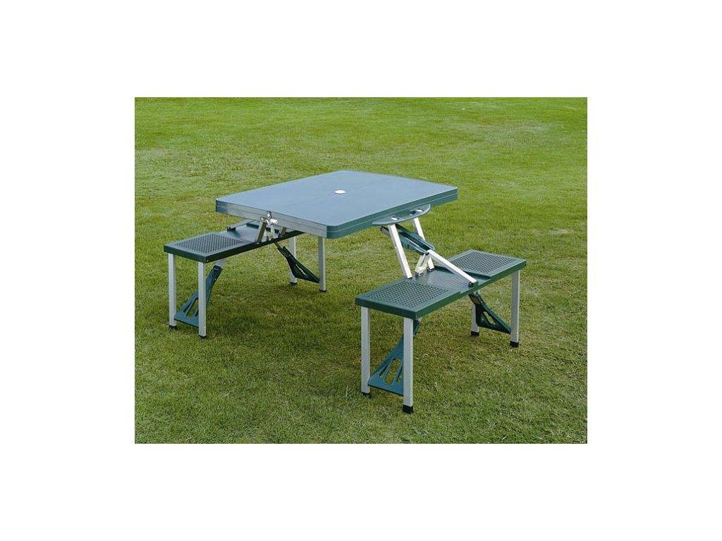 Skládací kempingový stůl s lavicemi TSS picnic - modrý