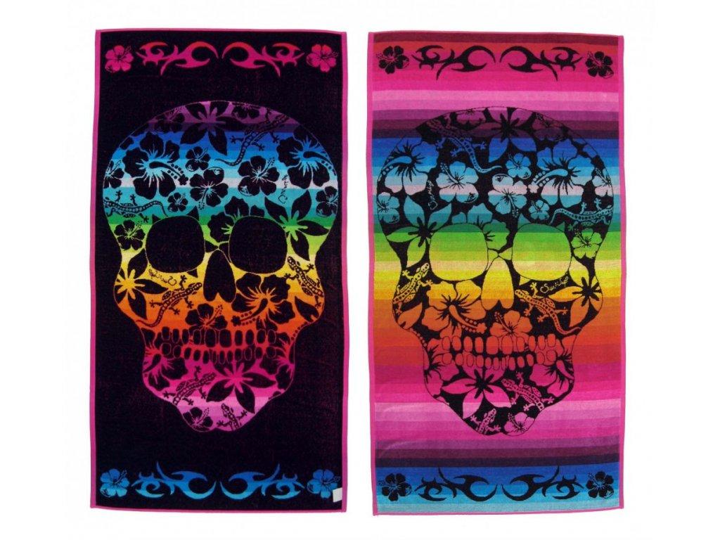 Oboustranná plážová osuška Sunflower Colour Skull duhová