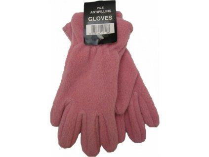 Dámské zimní rukavice, fleece, růžové