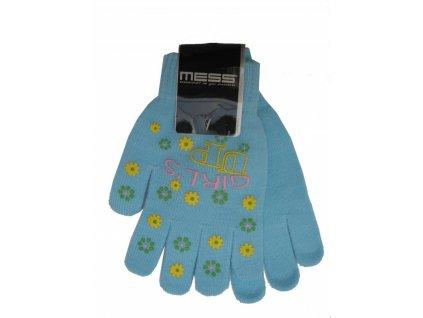 Dětské pletené rukavice Mess GL354 modré