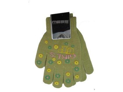 Dětské pletené rukavice Mess GL354 zelené