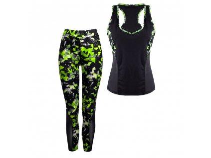 Dámský fitness set - sportovní top a legíny 11978 Neongrün