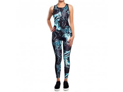 Dámský fitness set - sportovní top a legíny YG02 Blau