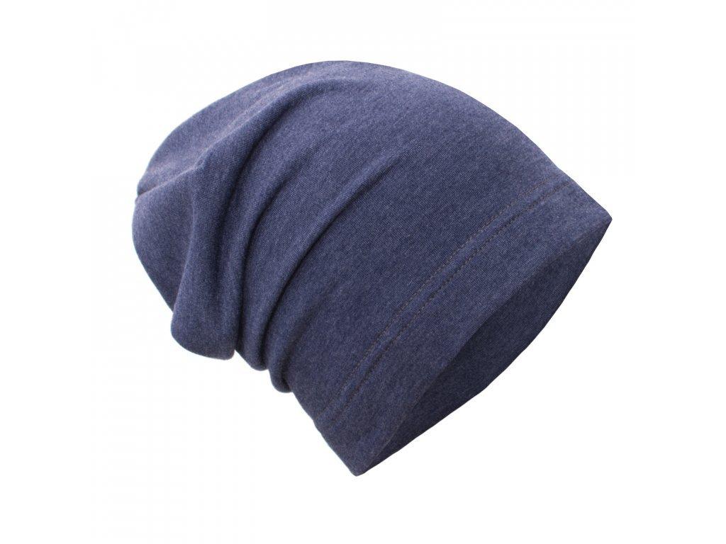 Spadená čepice z teplákoviny - Temný jeans